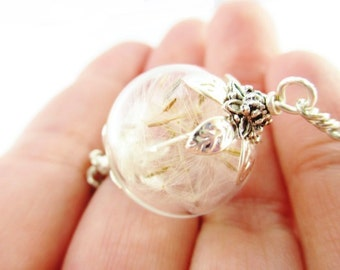 Dandelion Seed Glass Orb Terrarium Necklace, Small Orb In Silver or Bronze, Bridesmaids Gifts, Make A Wish