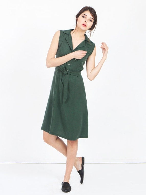 Dark green dress khaki green summer dress green tailored