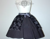 Gunmetal lace gothic overskirt bustle skirt cape free size lolita victorian goth steampunk dark mori girl silver black gray grey scallop hem