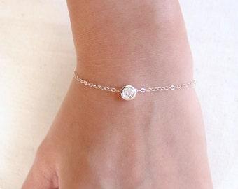 Sterling Silver Crystal Bracelet, Tiny CZ Bracelet, Solitaire Bracelet, Bezel Bracelet, Dainty Chain Bracelet, Simple Delicate Bracelet