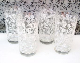Mid Century Drinking Glasses / Vintage Tumblers / White Bar Glasses / Wedding Decor - Set of 4