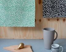 Set of 2 Geometric tea towels DOTS - mint and black