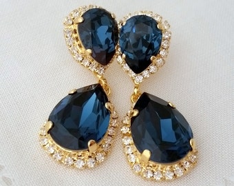 Navy blue earrings,navy blue chandelier earrings,Dangle dangle earrings,Navy blue bridal earrings,navy blue bridesmaid,Deep blue,Swarovski