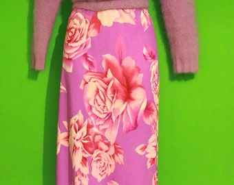 Vintage 90s Womens Lavender Hot Pink Floral Rose Sheer Small Grunge Maxi Skirt Clueless Hella