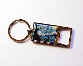 Keyring bottle opener, Starry Night, Bottle Opener, Keychain bottle opener, Key ring, key chain, Soda Opener, starry night keyring (5155)