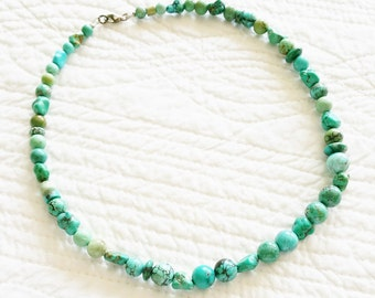 Vintage Bohemian Ocean Blue Turquoise Necklace, Olives and Doves