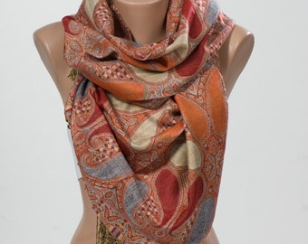 Orange Brown Scarf Wrap . Women Pashmina Shawl Neck Wrap. New Season Gift idea Scarf.