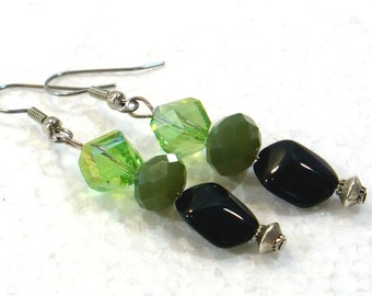 Green & Black Earrings - Glass Bead Dangle Earrings, Women's Earrings, Nickle-Free Ear Wires, Gifts for Her, Handmade in the USA