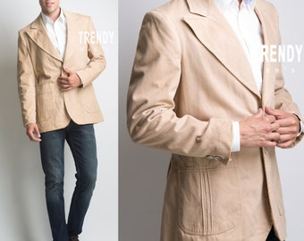 Men's Vintage Jacket, Men's jacket, Vintage 70s jacket, Vintage tan jacket, Men's brown jacket - L