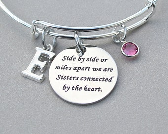 """Sisters Bangle """" Side By Side Or Miles Apart We Are Sisters Connected By The Heart"""", Personalized Charm Bangle, Sister Gift, Under 20"""