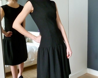 Norman Norell Cocktail Dress 1960s Black Wool Crepe Fitted LBD Couture Silk Lined Audrey Hepburn Drop Waist