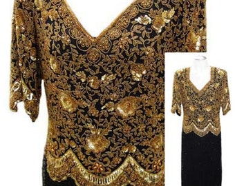 Beaded Evening Dress in Gold and Black with 3/4 Sleeves - Size Medium