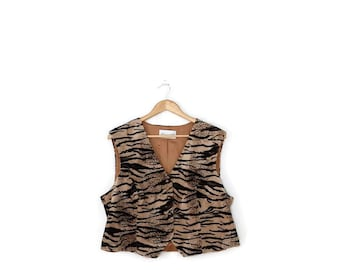 SALE!!Vintage Tiger Pattern/Animal Print Vest from 80's*