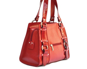 RED LEATHER TOTE Bag, Red Leather Handbag, Buckles Leather Purse,Handmade Leather Bag,Small Leather Bag