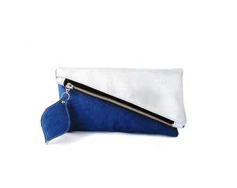 Silver and blue leather clutch purse, geometric clutch bag, two faces clutch bag, color block foldover clutch, leather pouch, vegan clutch