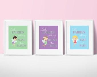 "Kids Bathroom Art - Bathroom Decor - Fairy Prints - Girls Bathroom - "" Little Fairies Always Wash their Hands"" - Fairy Princess Set of 3"