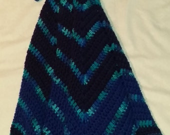 Large Varigated Blue Parrot Buddy Blanket Crochet Snuggle Ripple Star