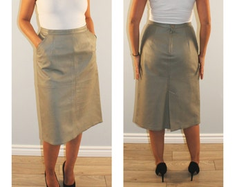 Vintage leather skirt high waist leather beige taupe flare with pockets retro medium 1980s 80s