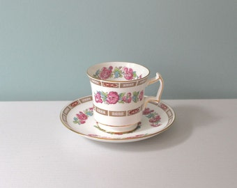 Tea Cup and Saucer, Royal Chelsea Bone China, Vintage Floral Tea Cup, Made In England, Gold, Pink