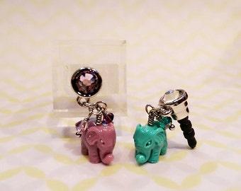Lucky Elephant Dust Plug, Handmade Cell Phone Dust Plug, Elephant Cell Phone Charm