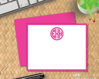 Perfect Circle Flat Notecards - Classic Monogram Stationery - Correspondence Card - Preppy Personalized Note Card Stationary - Writing Paper
