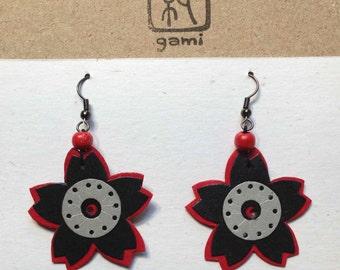 """Kirigami Sakura Earrings Silverack M 1-1/2"""" or 3.5cm diameter"""