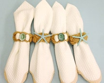 Beach Decor - Seashell and Starfish Napkin Rings - Seashells blue aqua table  sea shells