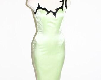 THIERRY MUGLER Vintage Dress One Shoulder Green Silk Black Thorn Neckline - AUTHENTIC -