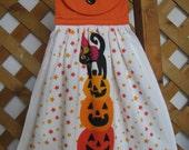 Halloween Cat Pumpkin Kitchen Tea Towel, Hanging Kitchen Dish Towel, Black Cat, Jack-O-Lanterns, Kitchen Towels, Kitchen Decoration, Scary