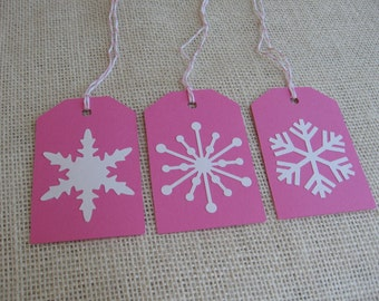 Pink Snowflake Gift Tags, Set of SIX, Pink with White Snowflake, Large Gift Tags, White Snowflake Gift Tag, Traditional, Xmas SnowNoseCrafts