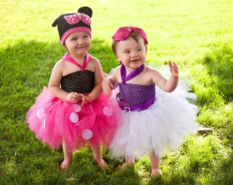 COMPLETE OUTFIT Daisy Duck Tutu Dress Big Bow Set Baby Toddler Girls BIrthday Outfit Photo Prop Halloween Costume Black Pink