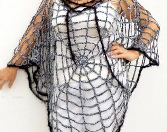 Women Poncho Crochet Spider Web Cape, Women's Clothing Halloween Spiderweb Costume One Size, V-neck Poncho Halloween Fashion