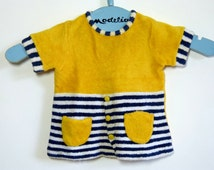Yellow and nautical stripes terrycloth BABYGRO baby short sleeved summer t-shirt dress - size 6 months - French 70s vintage