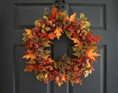 Autumn Berry Wreath with Acorns, Pine Cones and Fall Foliage | Autumn Rustic Door Wreath | FALL Wreath | Fall Decor
