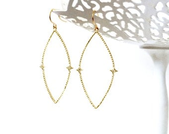 Marquise Earrings, Marquise Hoops, Gold Marquise, Silver Marquise, Hoop Earrings, Minimalist Earrings, Gifts for Her, Bridesmaid Gifts