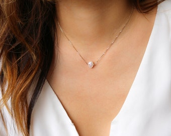Pearl Necklace -June Birthstone Necklace, Pearl Pendant Necklace, Single Pearl Necklace. Bridesmaid Gift, Bridesmaid Necklace [7mm]