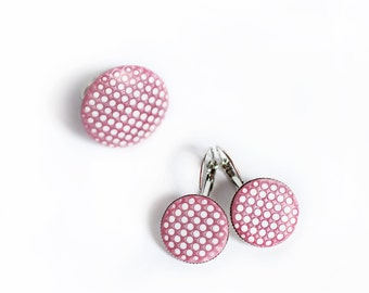 Pink earrings, Geometric earrings, Polka dots earrings, Dangle earrings, Clay earrings, Circle earrings Modern earrings Contemporary jewelry