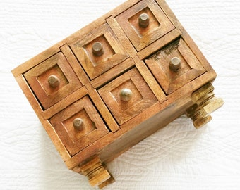 Vintage Cottage Home Six Drawer Trinket Box, Romantic Home, Olives and Doves