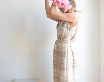 Vintage dress, 60s 70s, summer dress, urban colors, short-sleeved, V-neck, retro dress, dress for tying, fabric belt, bohemian, Boho, romance