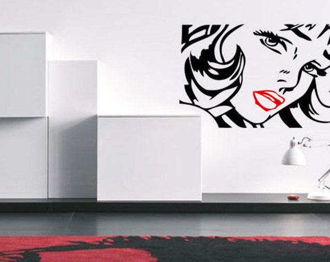 POP ART Woman style Vinyl wall Decal sticker- red lips  sexy lady  wall art deco