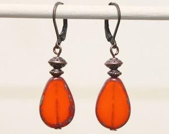 Orange Earrings Czech Drop Earrings Dangle Earrings Czech Glass Earrings Picasso Boho Chic Copper Earrings Jewelry Gift Ideas