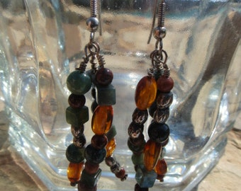 Vintage Beautiful Dangle Hook Style Earrings for Pierced Ears Beaded Earrings