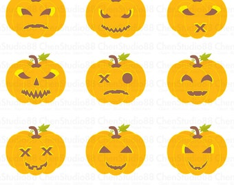 Halloween Pumpkin vector - Digital Clipart - Instant Download - EPS, PNG files included