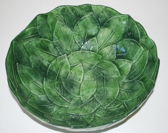 Vintage Green Leaf Design Bowl