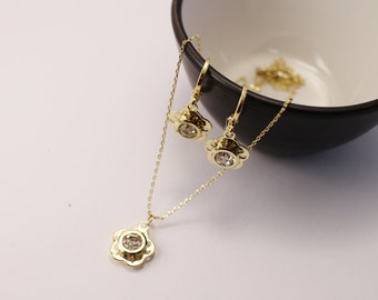 14K Gold Filled jewellery set, Flower jewellery set