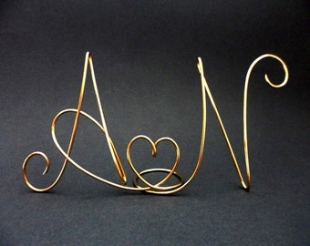 Wedding Cake Topper,  Silver cake topper - Gold cake topper -Monogram  Mr. and Mrs Two lovers
