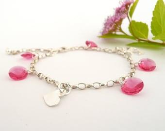 Swarovski Bracelet,  Sterling Silver Bracelet, Pink Crystal Bracelet, Silver Charm Bracelet, Silver Bracelet for Women