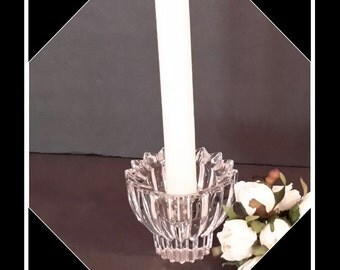 Lead Crystal Candleholder, Crystal Candle Holder, Small Single Candlestick holder, Wedding Decor, Gift Giving