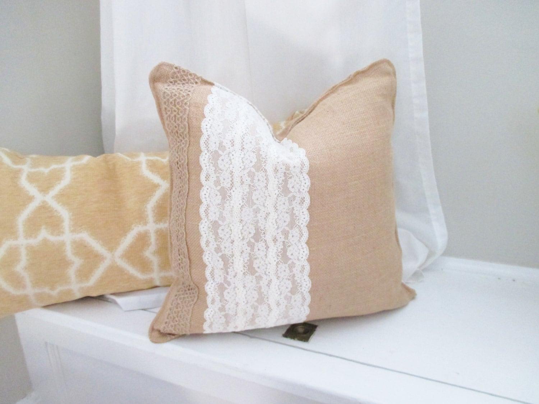 Burlap Pillow Burlap and Lace Decorative Pillow by coralglass