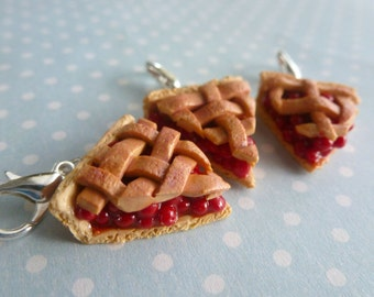 Cherry Pie, Cherry Pie Filling, Miniature Food Jewelry, Cherry Pie Charm